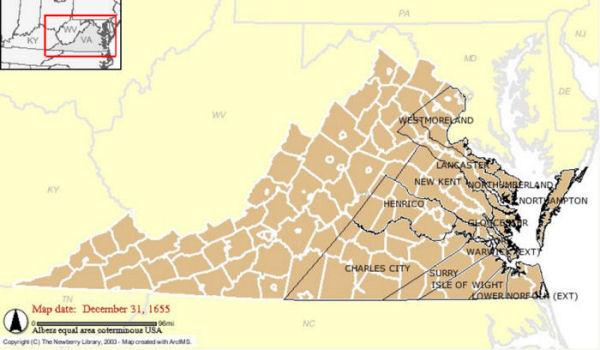 Map Of Virginia 1750.Earliest Brocks In Virginia